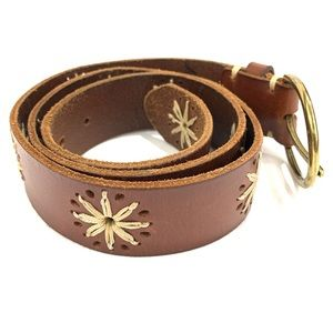Lucky Brand Women's Leather Brown Belt Gold Buckle